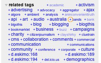 Combining related tags when browsing in del.icio.us - click the '+'