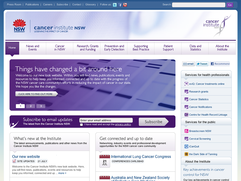 Screenshot of the Cancer Institute NSW website (at time of launch)