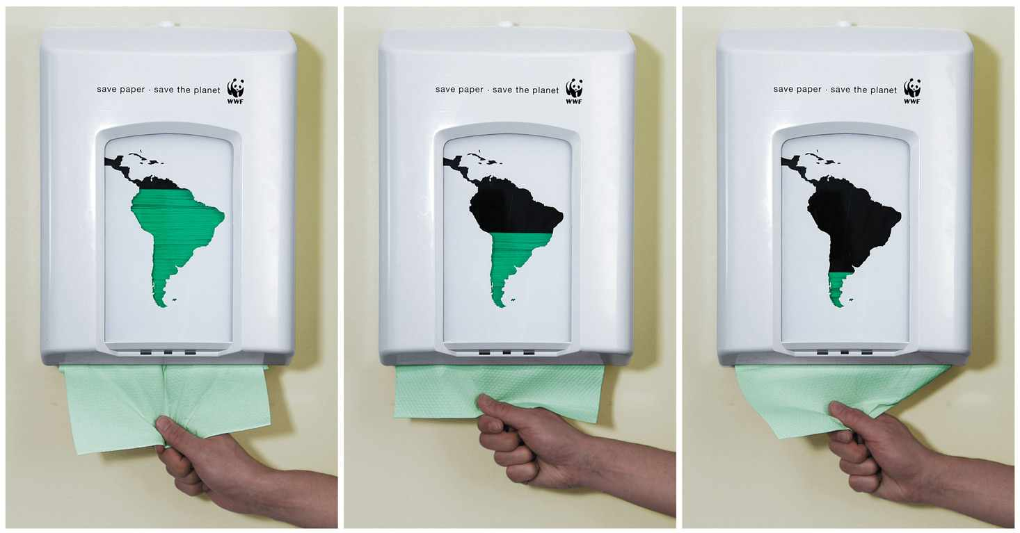 A paper towel dispenser which visually highlights the impact on forests.