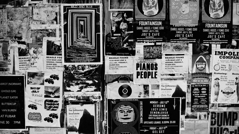 Music posters on a wall