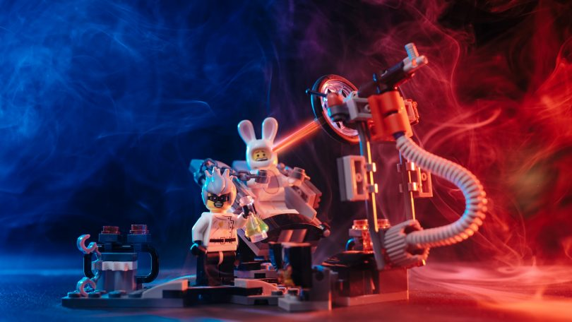 Photo of a LEGO scene depicting a mad scientist and experiment