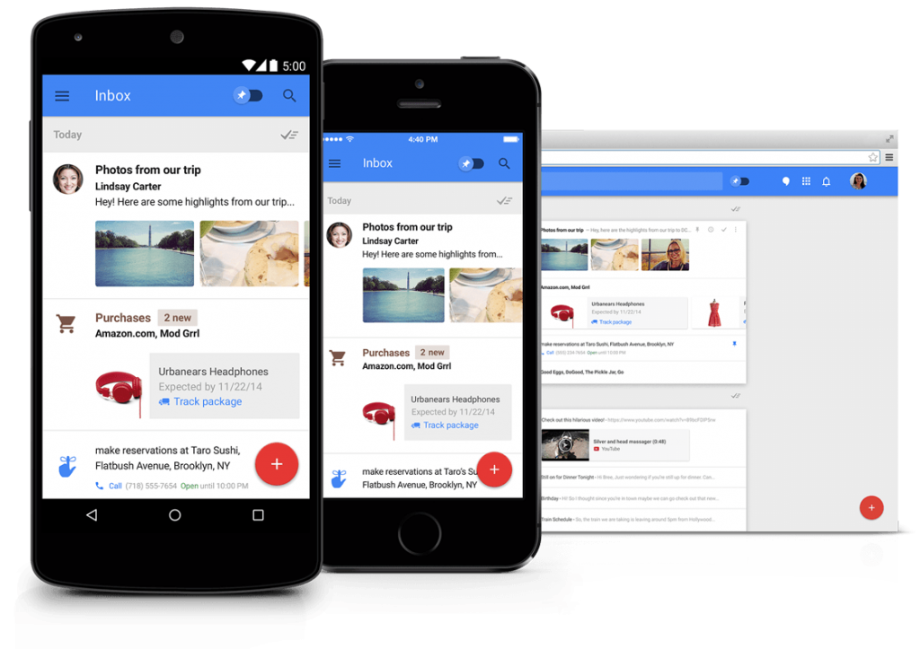 Google Inbox is a product that employs the Material Design philosophy